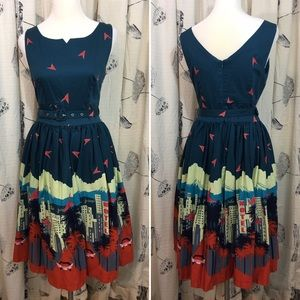 EUC Lindy Bop Palm Springs Dress Blue Pinup